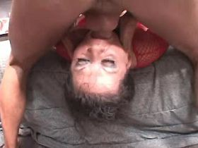Lewd mature fucks with two guys and gets facials