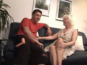 Blond lewd granny does hot blowjob and jumps on dick
