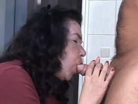 Brunette mature fucks on floor and drinks sperm