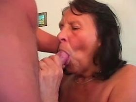 Chubby lewd granny getting cumshot after hard fuck