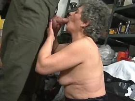 Chubby grandmother fucks on floor and gets facial