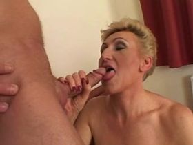 Blond mature fucks in diff poses and gets creampie