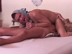 Hungry granny fucks and gets cumshot on old body