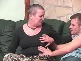 Chubby old mature does blowjob and fucks on sofa