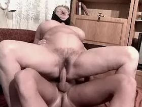 Depraved granny fucks in diff poses and gets facial