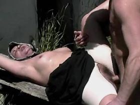 Lewd granny jups on cock and gets creampie outdoor