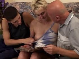 Old blonde mature sucks cocks and fucks with two men