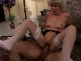 Hot granny fucks on sofa and floor and gets facial