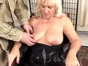 Granny sucks cock and fucks from behind on floor