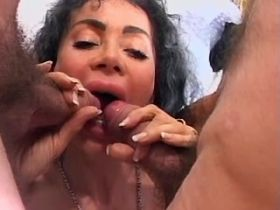 Mature fucks in all holes and gets cumshot in orgy