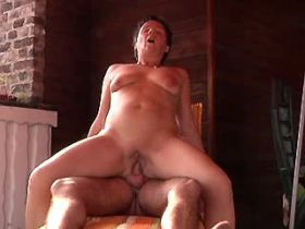 Elder mature jumps on cock and gets cum in mouth