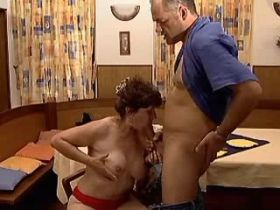 Two aged matures play with dildo and suck big cock