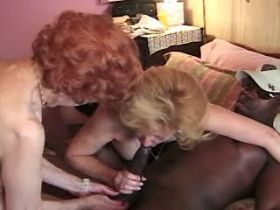Two lewd grannies fuck with blacky and get cumshot