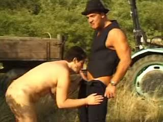 Mature village mom fucks on tractor